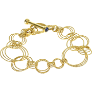 """18K Roberto Coin Chain Toggle Closure Bracelet 7.25"""" Yellow Gold"""