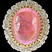 14K 15.60 Ctw Pink Tourmaline Oval Diamond Halo Ring Size 5.5 Yellow Gold [QPQX]