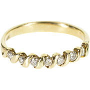 14K 0.21 Ctw Diamond Wavy Bar Channel Wedding Band Ring Size 7 Yellow Gold [QPQX]
