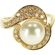 14K 0.25 Ctw Diamond Pearl Wavy Bypass Cocktail Ring Size 5.5 Yellow Gold [QPQX]