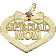 "14K Amethyst ""Special Mom"" Heart Charm/Pendant Yellow Gold"