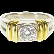 Platinum 1.00 Ct Scott Kay Two Tone Bezel Travel Engagement Ring Size 8.25  [QPQX]
