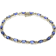 "10K 9.52 Ctw Oval Sapphire* Diamond Accent Tennis Bracelet 6.5"" White Gold  [QPQQ]"