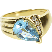 14K 3.10 Ctw Blue Topaz Diamond Channel Accent Ring Size 8.25 Yellow Gold [QPQX]