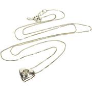 "14K 0.18 Ct Diamond Inset Heart Box Chain Necklace 17.5"" White Gold  [QPQQ]"