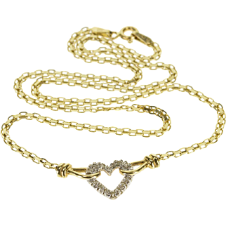 """14K Diamond Inset Loop Heart Flat Square Chain Necklace 15.9"""" Yellow Gold  [QPQQ]"""