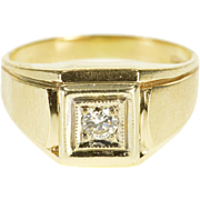14K 0.25 Ct Diamond Square Inset Milgrain Men's Ring Size 11 Yellow Gold [QPQQ]