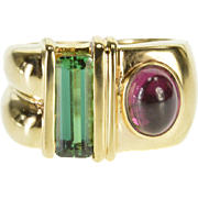 14K 2.28 Ctw Pink Chrome Tourmaline Statement Ring Size 5.5 Yellow Gold [QPQQ]