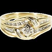 10K 0.42 Ctw Diamond Wavy Channel Engagement Ring Size 7.75 Yellow Gold [QPQQ]