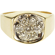 10K 1.26 Ctw Round Diamond Cluster Men's Squared Ring Size 11 Yellow Gold [QPQQ]