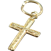 10K Petite Rope Detailed Cross Charm/Pendant Yellow Gold