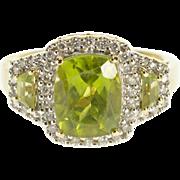 14K 3.90 Ctw Peridot Diamond Halo Three Stone Ring Size 6.75 Yellow Gold [QPQQ]