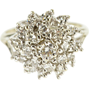 14K 0.54 Ctw Diamond Tiered Petal Cluster Statement Ring Size 3 White Gold [QPQQ]