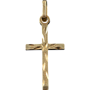 14K Simple Art Carved Cross Charm/Pendant Yellow Gold