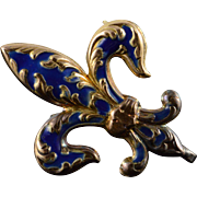 14K Blue Enamel Fleur De Lis Watch Fob Pin/Brooch Yellow Gold
