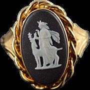14K Black Wedgewood Carved Porcelin Vintage Ring Size 5 Yellow Gold