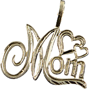 14K Mom Mother Word Cut Out Heart Charm/Pendant Yellow Gold