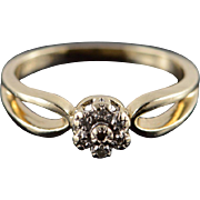 10K Genuine Diamond Cluster Halo Ring Size 7 Yellow Gold