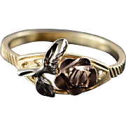 14K Two Tone Rose Band Ring Size 5.25 Yellow Gold