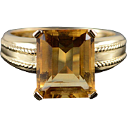 14K 6.00 CT Citrine Fancy Setting Ring Size 8.25 Yellow Gold