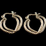 14K Hollow Hoop Twist Earrings Yellow Gold