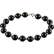 "14K 8mm Black Onyx Box Link Bracelet 7.25"" Yellow Gold"
