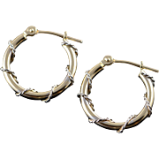 14K Hollow Hoop Rope Wrap White Accent Earrings Yellow Gold