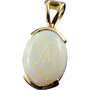 14K 0.50 CT Oval Opal Solitaire Pendant Yellow Gold