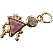 14K Pink Birthstone Baby Girl Charm/Pendant Yellow Gold