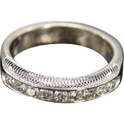 14K 0.36 Ctw G/VS-SI Round Diamond Milgrain Channel Set Wedding Band Ring Size 6.75 White Gold