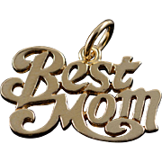 14K Best Mom Word Cut Out Mother Charm/Pendant Yellow Gold