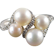 14K 5.7-6.75mm Pearl 0.15 CTW Diamond Woven Bypass Ring Size 8 White Gold