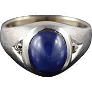 10K 2.52 CTW Star Sapphire* Diamond Men's Ring Size 12 White Gold