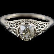 14K 1920's 1.15 CT Old Mine Cut Filigree Diamond Engagement Ring Size 9.25 White Gold