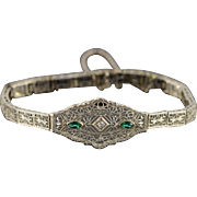 "14K 0.33 CTW Diamond Imitation Emerald Filigree Art Deco Bracelet 6.75"" White Gold"