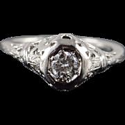 Platinum Art Deco 0.33 CTW Diamond Engagement Filigree Ring Size 6.75