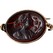 8K Brown Glass Cameo Woman with Flowers Pin/Brooch Rose Gold