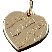 14K James Avery The Heart Remembers Charm/Pendant Yellow Gold