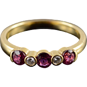 18K 0.55 CTW Ruby Diamond Wedding Band Ring Size 5.25 Yellow Gold