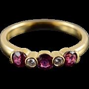 18K 0.55 CTW Ruby Diamond Wedding Band Ring Size 5.25 Yellow Gold