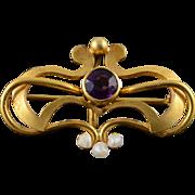 18K Art Nouveau Purple Glass & Seed Pearl Watch Hanger Pin/Brooch Yellow Gold