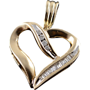 10K 0.20 CTW Diamond Inset Heart Cut Out Charm/Pendant Yellow Gold