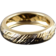 14K Hollow Ribbed Two Tone Wedding Band Ring Size 8 Yellow Gold