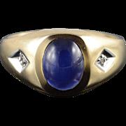 10K Created Star Sapphire Genuine Diamond Men's Ring Size 9.75 Yellow Gold