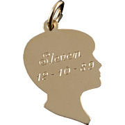 14K James Avery Child Silhouette Engraveable Charm/Pendant Yellow Gold