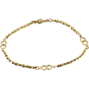 "14K Rope Heart Link Bracelet 7.5"" Yellow Gold"