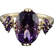 10K 5.25 CTW Amethyst Statement Ring Size 9.75 Yellow Gold