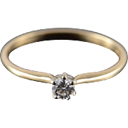 14K 0.14 CT Diamond Solitaire Engagement Ring Size 10 Yellow Gold