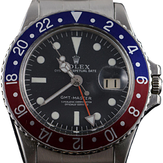 40mm Blue and Red Pepsi GMT Rolex 1970 Men's Watch