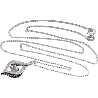 "14K 0.25 CTW Diamond Tear Drop Articulated Pendant Necklace 17.9"" White Gold"
